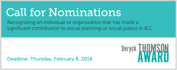 Deryck Thomson Award Call for Nominations. Recognizining an individual 